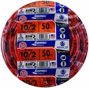 Southwire 28829022 50 10 2 W ground Romex Brand Simpull Indoor Electrical Wire