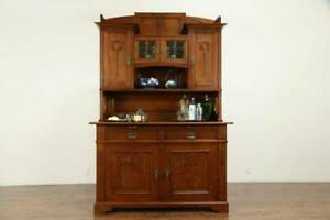 Arts Crafts Antique Scandinavian Sideboard Server China Cabinet 31389