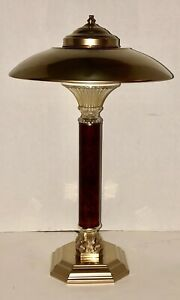 Vintage 21 Brass Mid Century Atomic Flying Saucer Ufo Retro Desk Lamp Table Lam