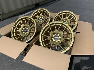 15x8 20 Xxr 530 4x100 114 3 Gold Rims Fits 4 Lug Civic Jetta Miata Xb Ek Used