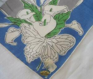Nwt Vintage Blue Printed Hanky Butterfly Floral Mid Century Hand Rolled