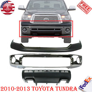 Front Bumper Chrome Steel Upper Cover Primed Valance For 2010 2013 Toyota Tundra