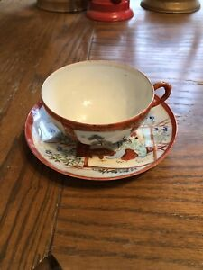 Antique Japanese Cup And Saucer Hand Painted And Signed By Artist