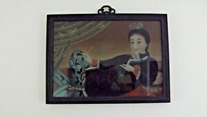 Framed Vintage Antique Chinese Reverse Glass Painting Geisha W Pocketbook