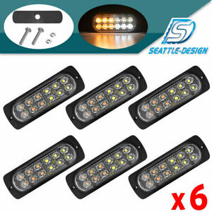 6 Amber White 12led Emergency Side Marker Grille Flash Strobe Led Hazard Lights