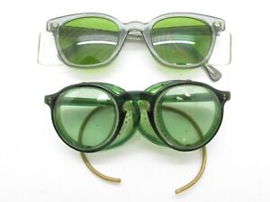Set Of 2 American Optical Ao Safety Horn rimmed Glasses Side Shields Green S649
