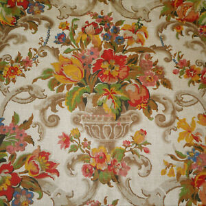 Antique English Floral Urn Linen Fabric Yellow Green Red Blue Apricot Brown
