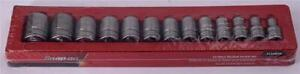 Snap on 1 2 Drive 12pt Flank Drive Sae Shallow Socket Set 13pc 313swya Usa