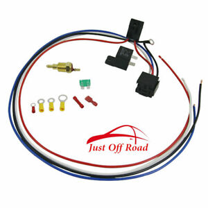 New Electric Cooling Engine Fan Thermostat Temperature Switch 30 Amp Relay Kit