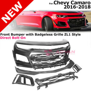 Front Bumper Cover W Badgeless Grille For 16 18 Camaro Zl1 Style Upper Insert
