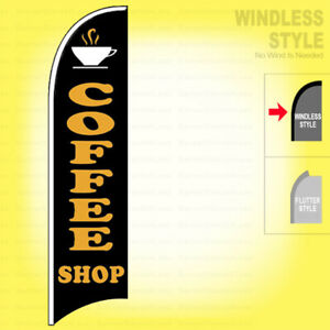 Coffee Shop Windless Swooper Flag 2 5x11 5 Ft Feather Banner Sign Kb