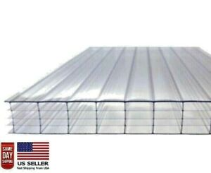 Pack Of 6 Panels 24 X 72 Long X 14mm 1 2 Polycarbonate 4wall Clear Sheets