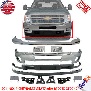 Front Bumper Chrome Steel Kit For 2011 2014 Chevy Silverado 2500hd 3500hd 12 Pcs