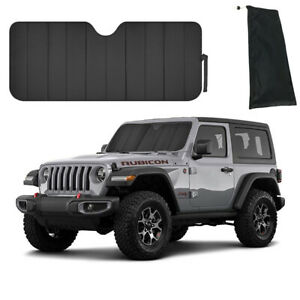 New Black Front Accordion Window Windshield Sun Shade Fit Jeep Wrangler