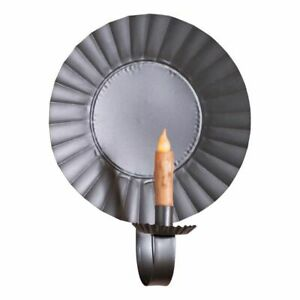 Large Round Wall Candle Sconce In Smokey Black Tin
