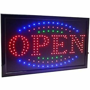 21 5 x13 Large High Visible Led Light Business Open Sign With Chain On off 3