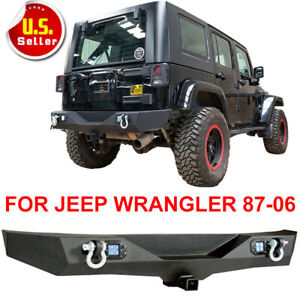 For Jeep Wrangler Tj Yj Textured Rear Bumper W 2 Led Lights Hitch Receiver
