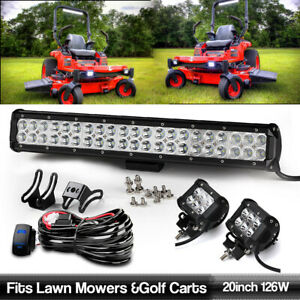 Fits Lawn Mowers 20 5 2x 4 Pods Wiring Led Light Bar Driving Offroad Kits
