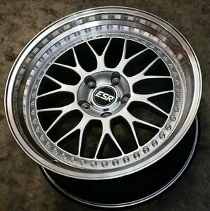 17x8 5 Esr Sr01 Wheels Silver 5x100 30 Fit Corolla Celica Golf Jetta Rims Set 4