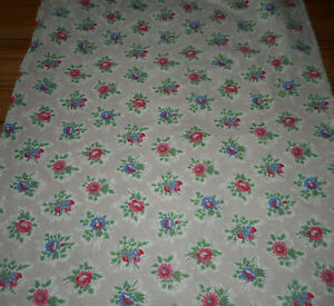 Antique Vintage French Floral Cotton Fabric 2 Blue Pink Red Green On Tan