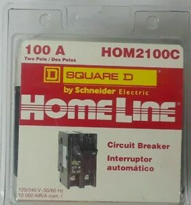 Square D Homeline Hom2100c 100a Two Pole 120v Circuit Breaker New