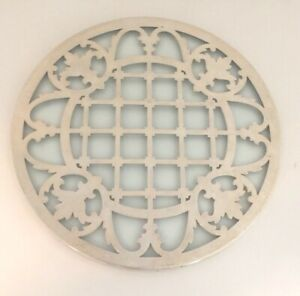 Beautiful Geometric Design Glass Sterling Overlay 7 Trivet S
