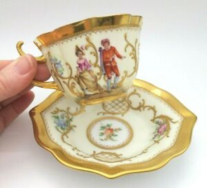 Antique Meissen Hand Painted Courting Couples Cup Saucer By Carl Thieme