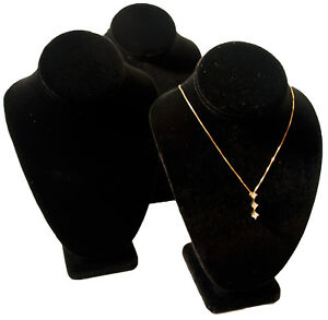 11 Jewelry Display Necklace Busts Black Velvet