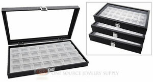 3 Storage Organizers With 28 Compartment Insert Wooden Box Glass Top Displays