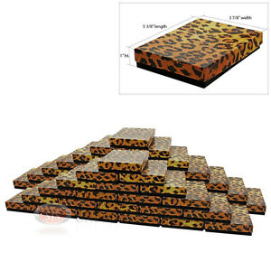 50 Leopard Print Cotton Filled Jewelry Gift Boxes 5 3 8 X 3 7 8 X 1 h