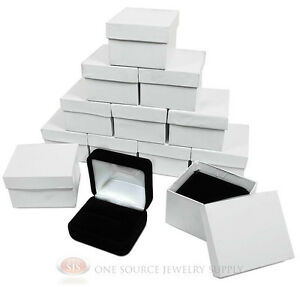 12 Piece Double Ring Black Velvet Jewelry Gift Boxes 2 3 8 w X 2 d X 1 1 2 h