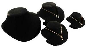 Assorted Black Pendant Necklace Jewelry Display Set