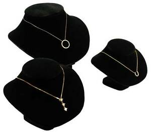 3 Assorted Black Pendant Necklace Jewelry Display Set