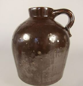 Antique Stoneware Jug Wide Mouth 19th Century Chocolate Brown Primitive
