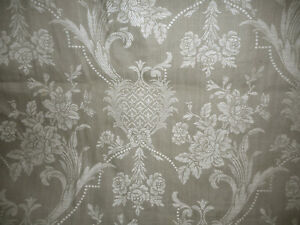Antique French Linen Cotton Stylized Floral Pearls Ticking Damask Fabric Gray