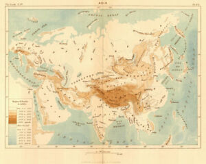 Asia 1886 Old Antique Vintage Map Plan Chart