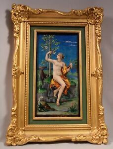 Beautiful Antique Signed A Garnier French Enamel Plaque Depicting A Nude Lady