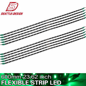 10pcs 60cm 30 Led Flexible Strip Light Bar Green For Car Motorcycle Truck Boat
