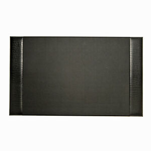 Desk Accessories greenwich Black croco Leather Desk Pad Blotter