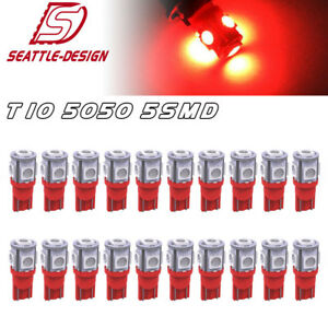 20x Pure Red T10 Wedge 5050 5 smd Led Interior Light Bulbs W5w 2825 192 168 194