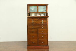 Mahogany Antique Dental Cabinet 15 Drawers Jewelry Collector 31587