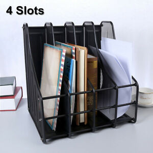 File Document Magazine Letter Storage Stand Holder Office Desk Organize Black