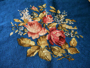 Vintage Roses Floral Needlepoint 2 Beautiful Blue Pillow Stool Chair Project