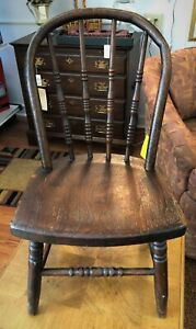 Antique Primitive Wood Oak Bentwood Child Chair Country Turned Spindle Bow Back