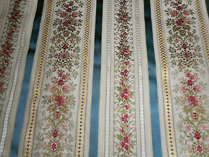 Vintage French Floral Stripe Satin Lisere Brocade Jacquard Fabric Blue Wine