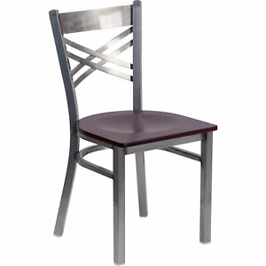 Clear Coatedxback Metal Restaurant Chair Mahogany Wood Seat 500 lb Cap