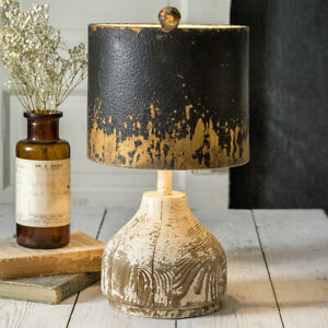 Distressed Wood Base New Tabletop Lamp With Distressed Metal Shade