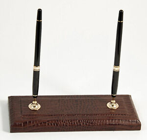 Desk Accessories greenwich Brown croco Leather Double Pen Stand