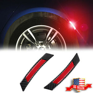 2x Red Reflective Carbon Fiber Fender Car Wheel Eyebrow Protector Trim Sticker