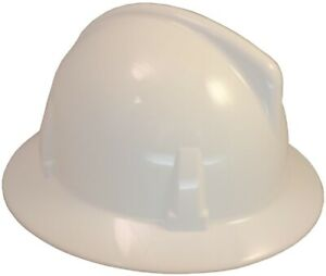 Msa Topgard Protective Full Brim Hats With Fas trac Suspension White